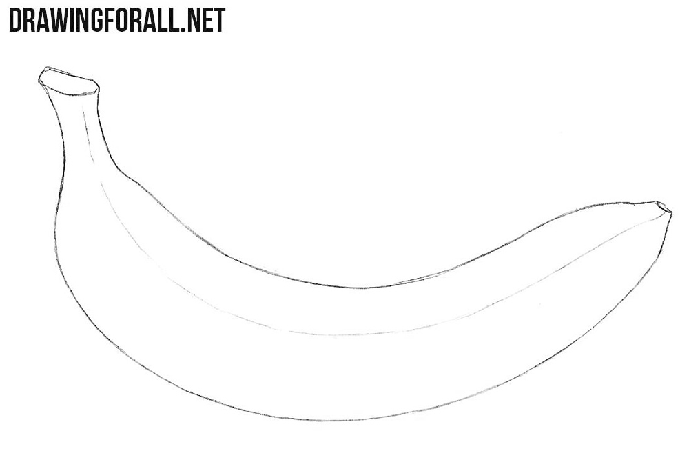 graphic black and white library Bananas drawing simple. How to draw a