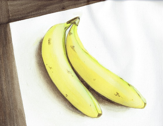 graphic library library Bananas drawing still life. Painting in acrylic my