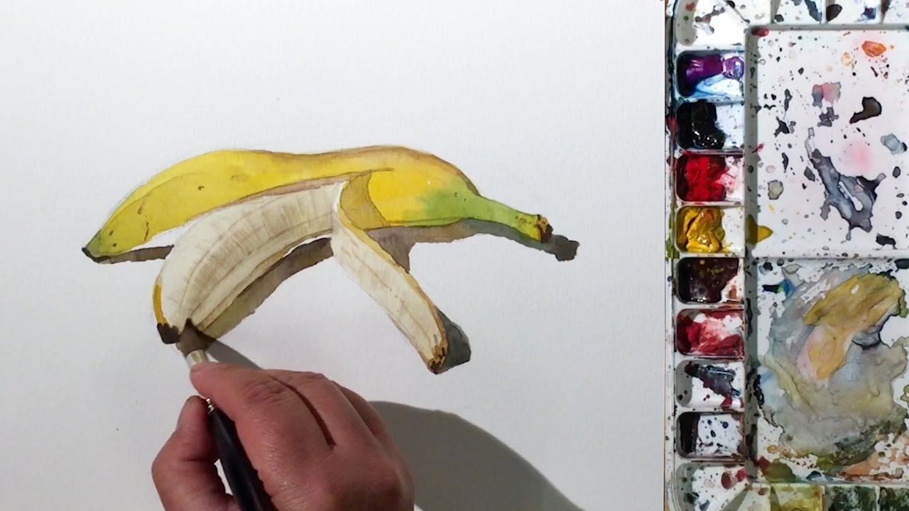 jpg transparent library Still life how to. Bananas drawing watercolor