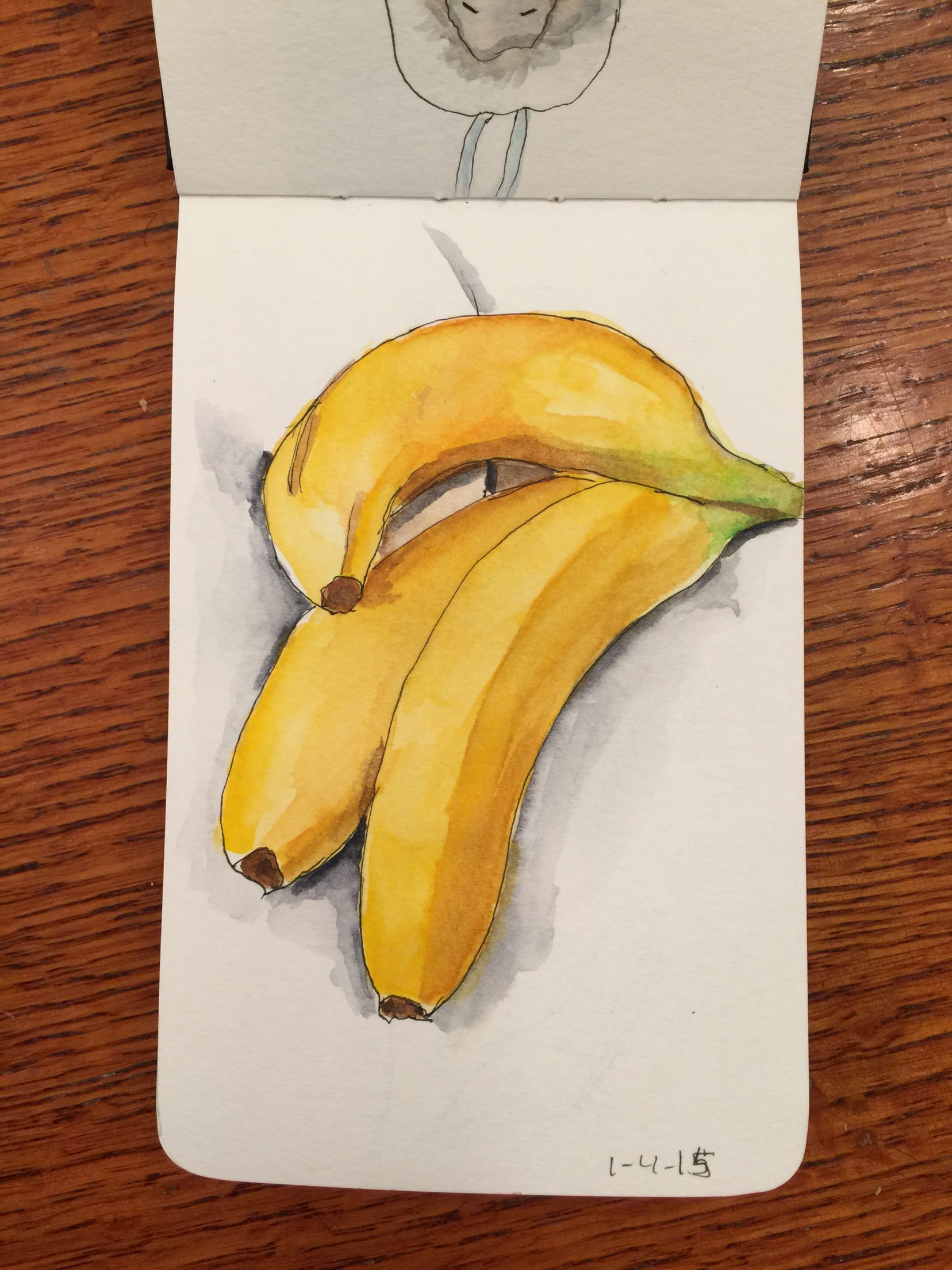 image free By kim bagwill in. Bananas drawing watercolor