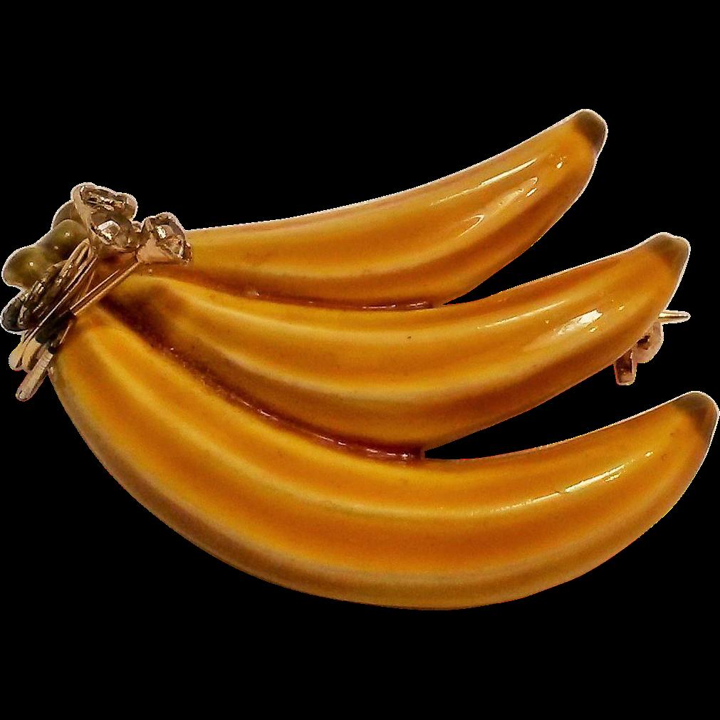 jpg transparent library HAR yellow enamel banana pin rhinestone