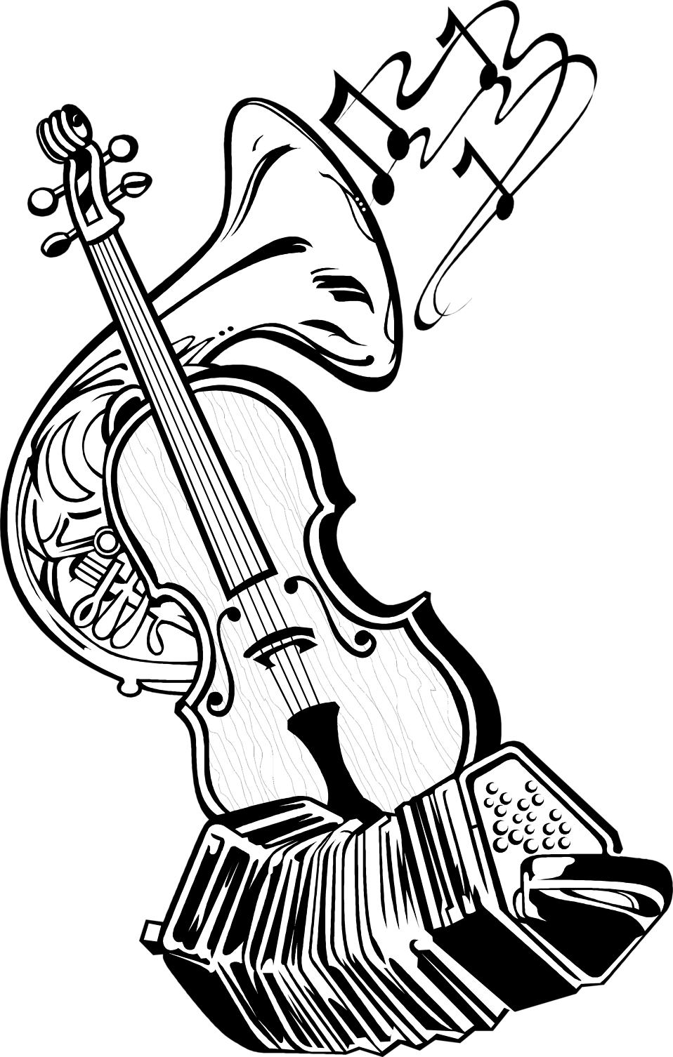 jpg black and white Musical Instruments Drawing at GetDrawings
