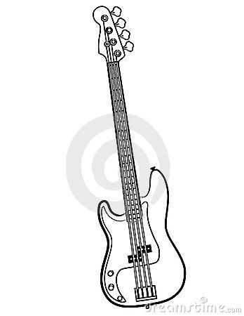 vector free stock Vector bands bass guitar. Electric line art sketchbook