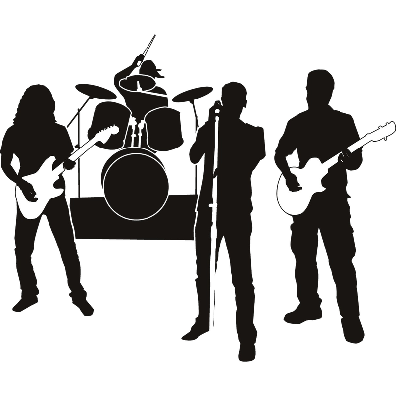 jpg black and white stock Rock clip art musical. Vector band transparent