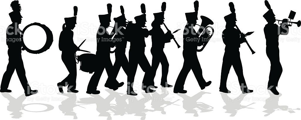banner library library Vector bands silhouette. A illustration of marching