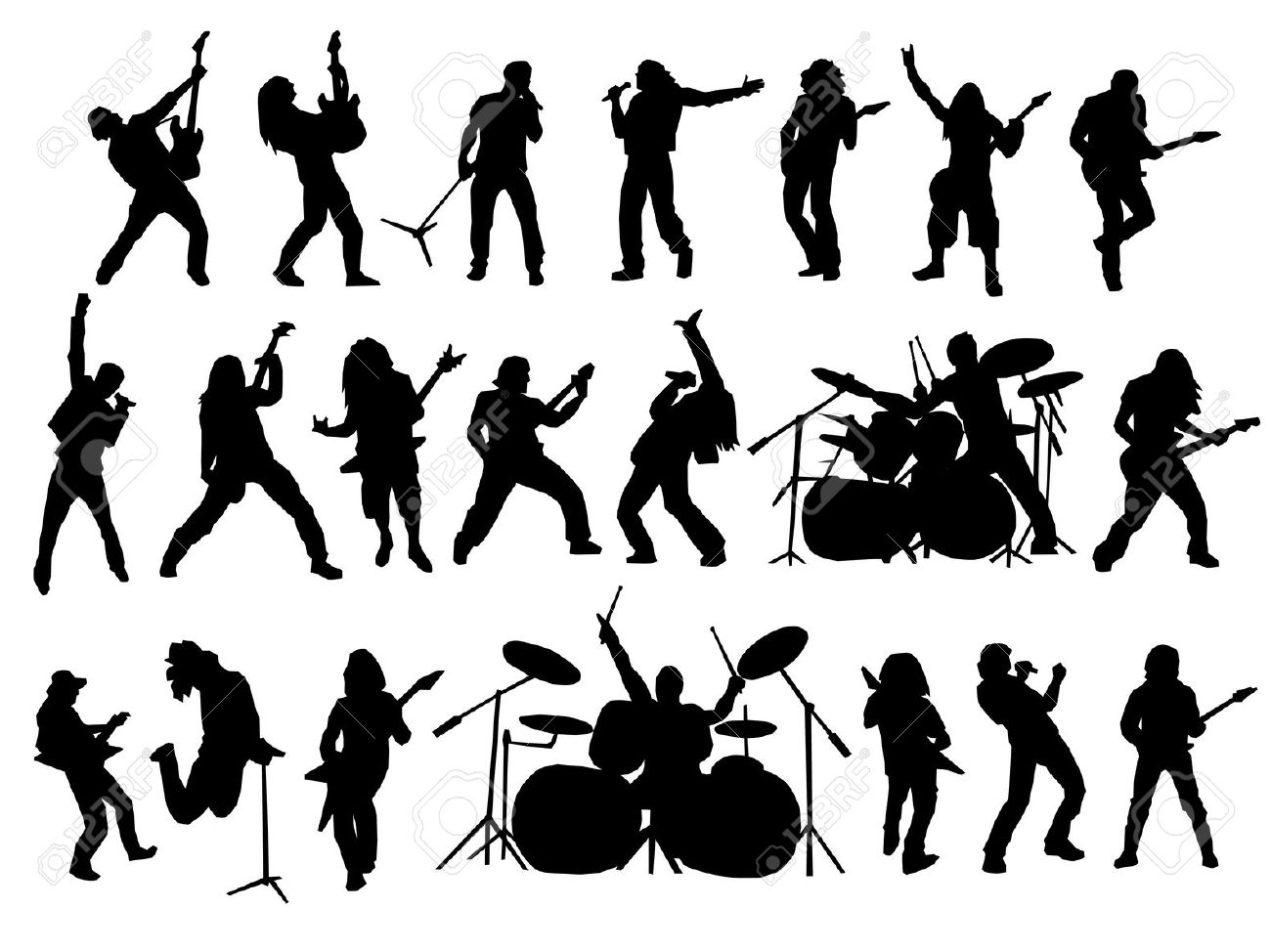 clipart transparent stock Free marching download clip. Vector band silhouette