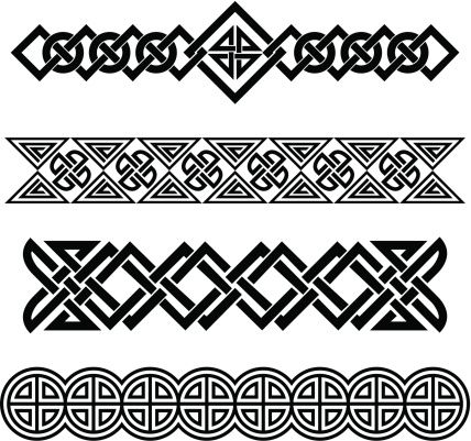 jpg black and white library Vector bands celtic pattern. Id tattoos clock
