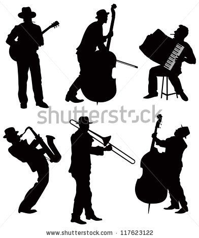 graphic black and white library Musicians silhouettes clip art. Vector band silhouette