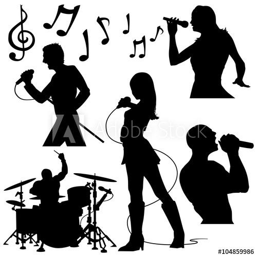 clip art transparent stock Musicians rock silhouettes performance. Vector band singer