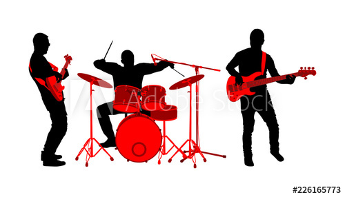 png freeuse stock Rock and roll silhouette. Vector band performance