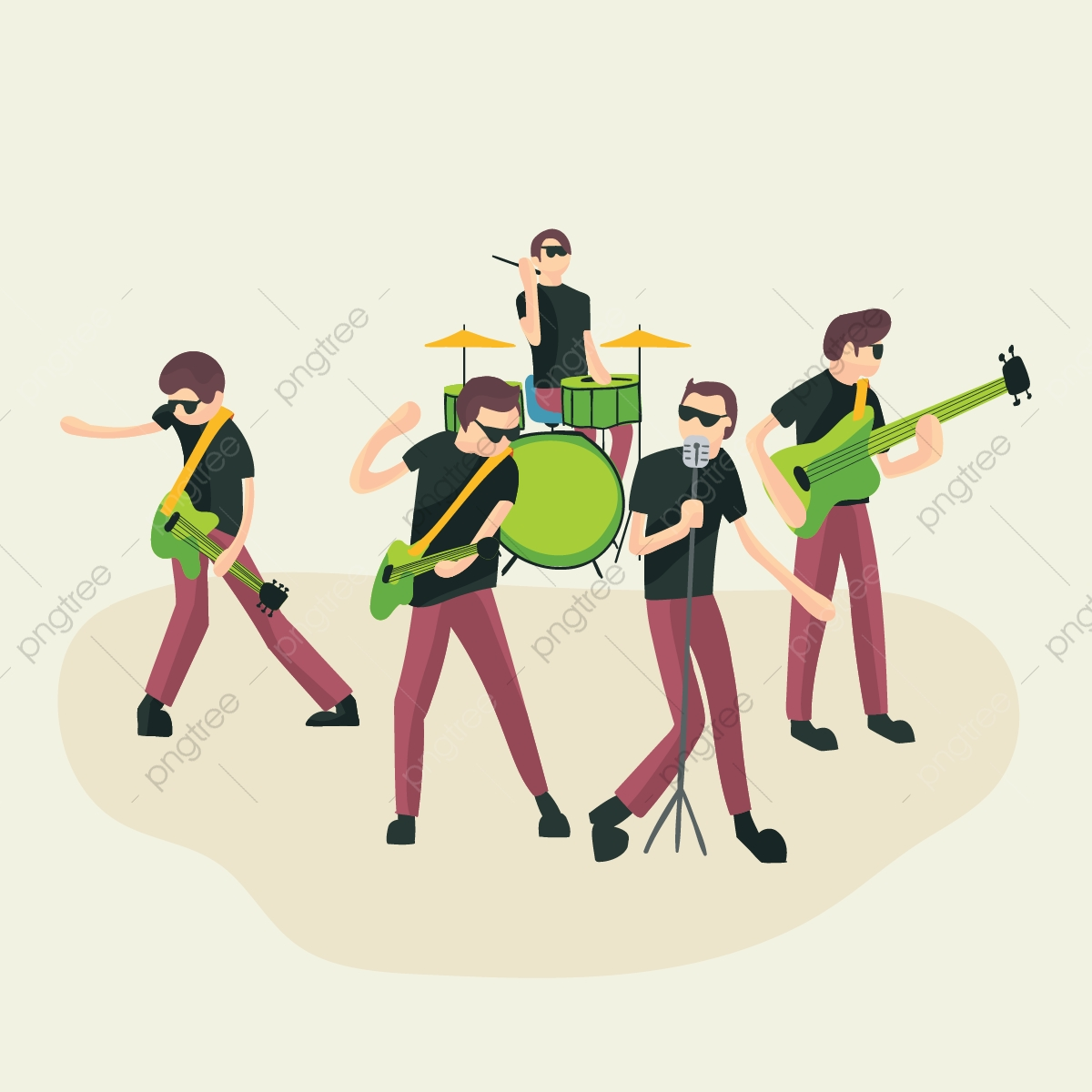 image black and white library Rock group music country. Vector band singer