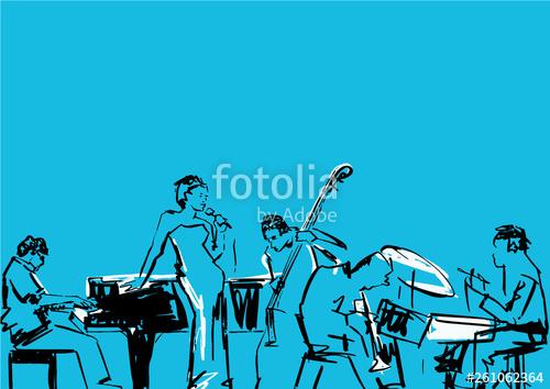 royalty free Vector band singer. Jazz pianist drummer contrabass