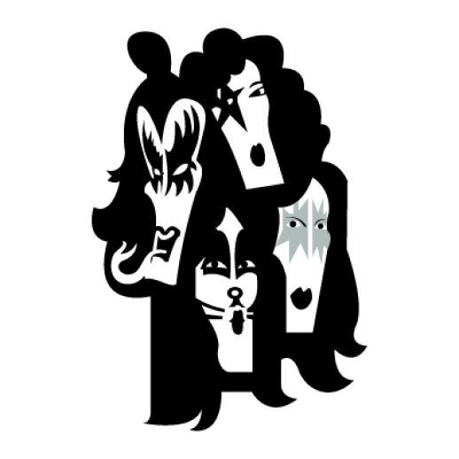 image freeuse library Kiss logo band music. Vector bands silhouette