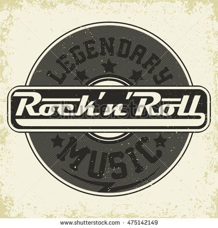 graphic black and white download Monochrome rock and roll. Vector band vintage