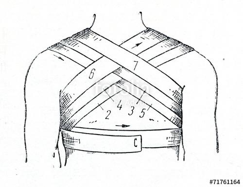 image stock Bandage drawing chest. Bandaging the stock photo