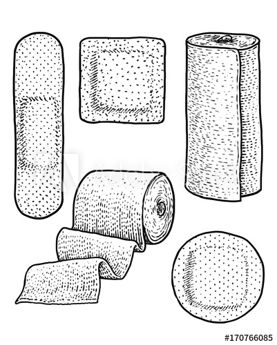 svg library Bandage drawing realistic. Plaster illustration engraving ink