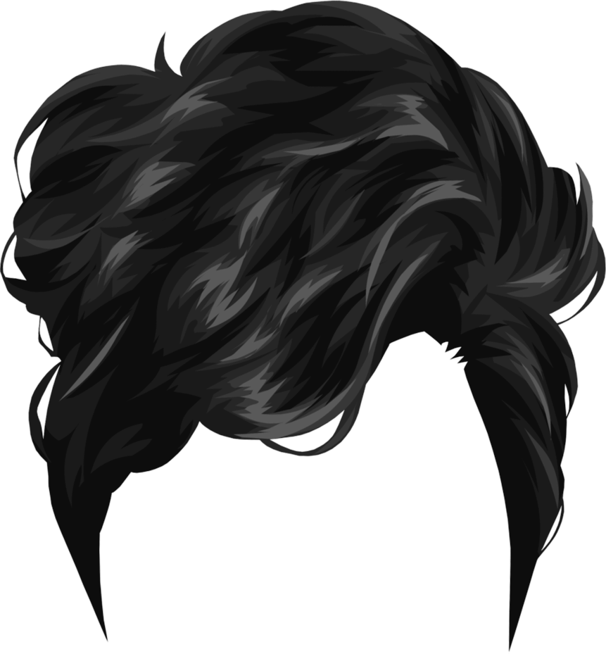 clip black and white library Short black transparent png. Recursive drawing hair