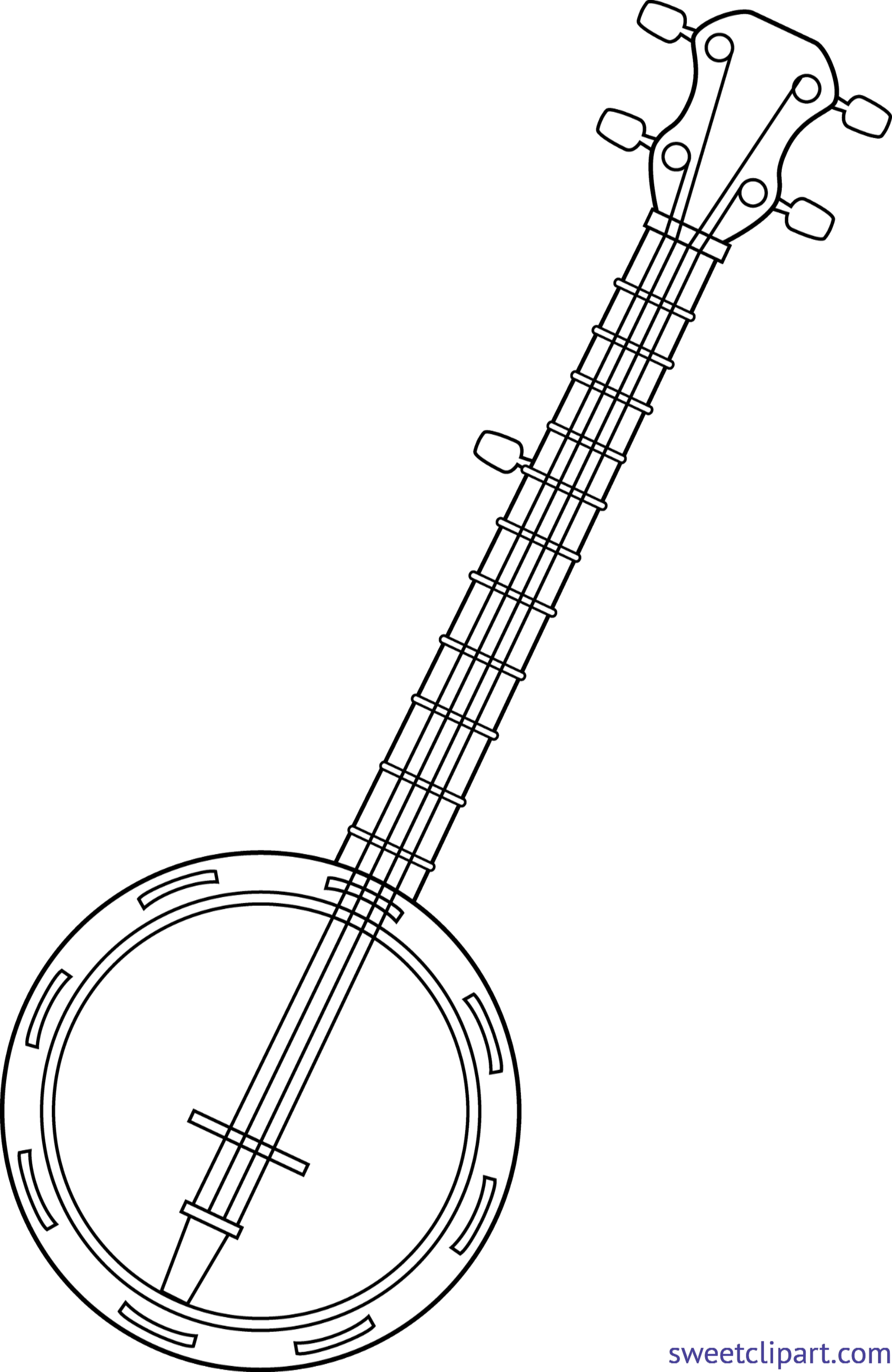 image library library Lineart clip art sweet. Banjo clipart black and white.