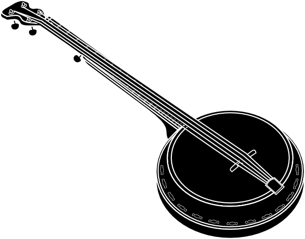 picture transparent library Banjo clipart black and white. Clip art at clker.