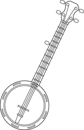 jpg royalty free library Colorable line art free. Banjo clipart black and white.