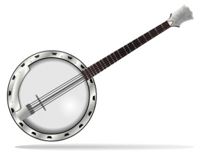 clip black and white stock Transparent free for . Banjo clipart crossed.