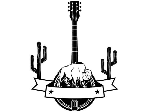 graphic royalty free library . Banjo clipart western guitar.