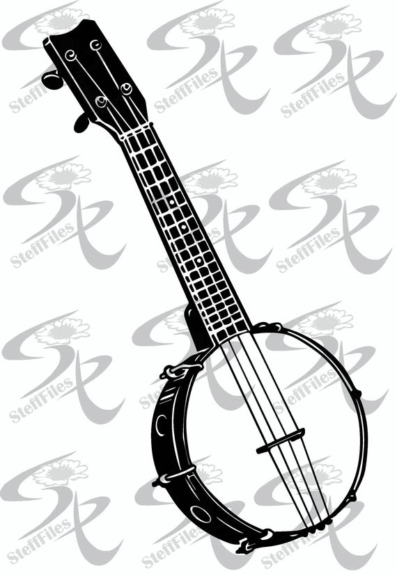 vector black and white library Banjo vector. Musical instrument art clipart.