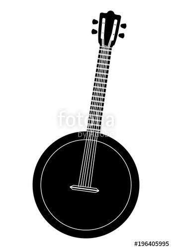 png free library Icon over white background. Banjo vector.