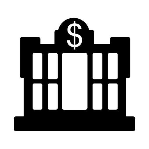 image black and white library Dollar central bank building free icon