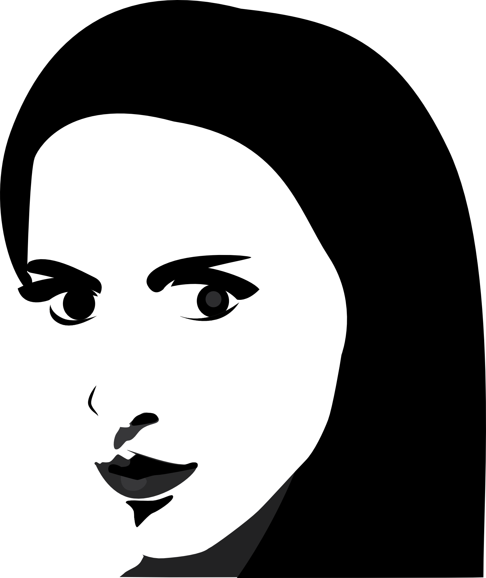 jpg black and white stock Face eye contact art. Bananna clip black hair