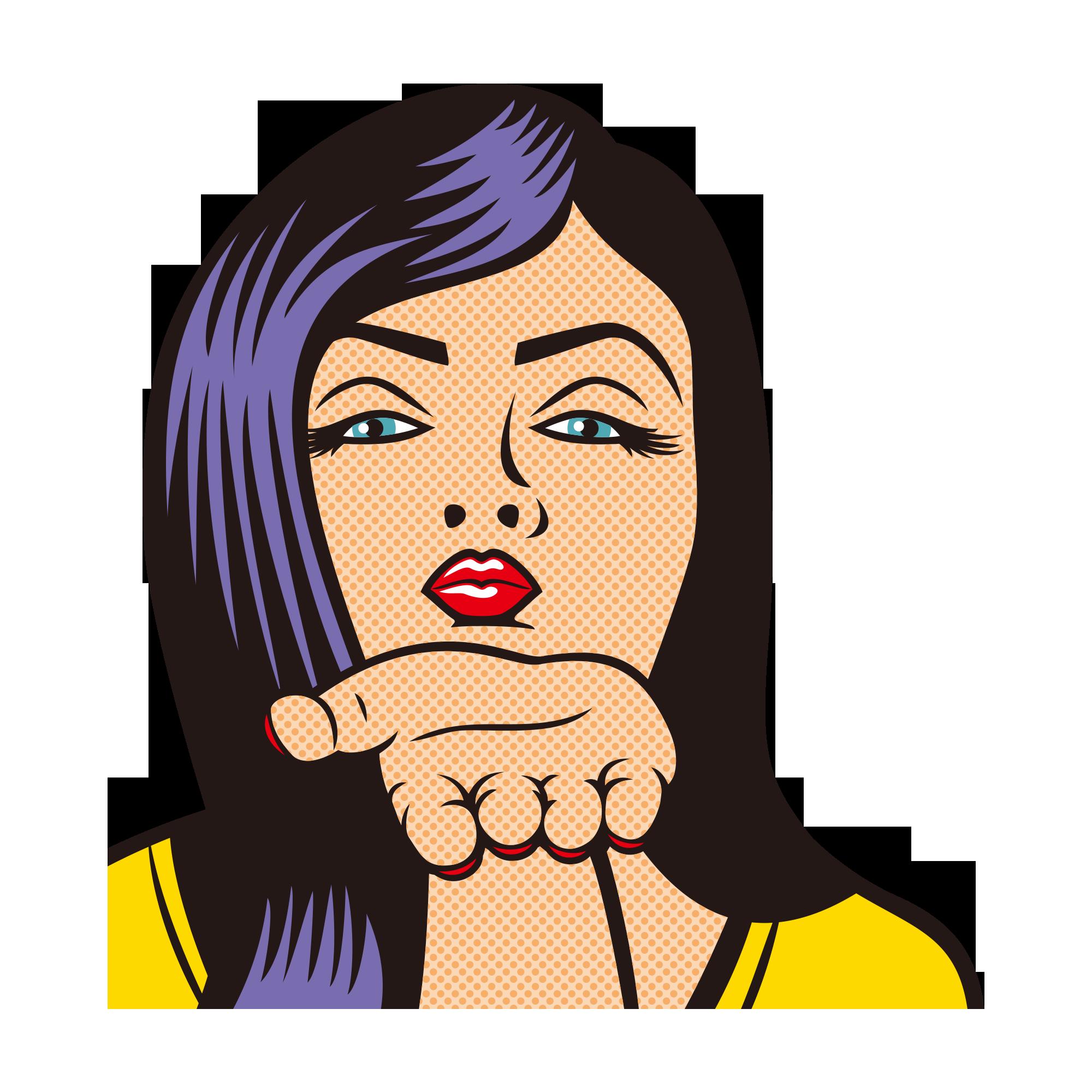 clip transparent download Kiss pop art purple. Bananna clip black hair