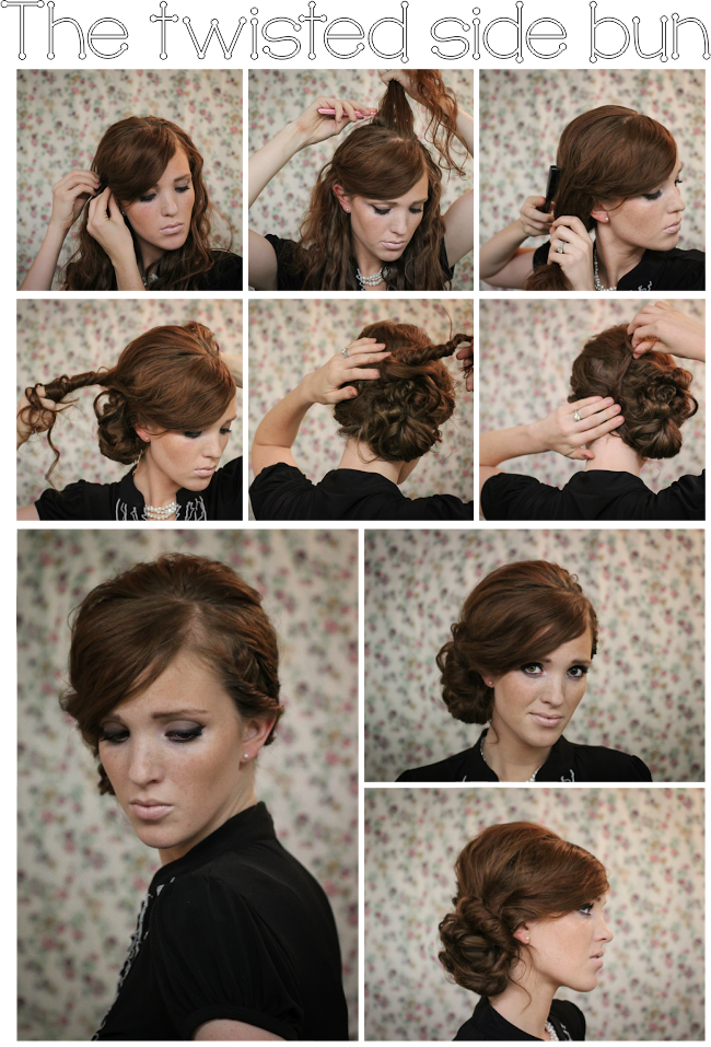 royalty free stock Bananna clip updo. Twisted side bun hairstyles