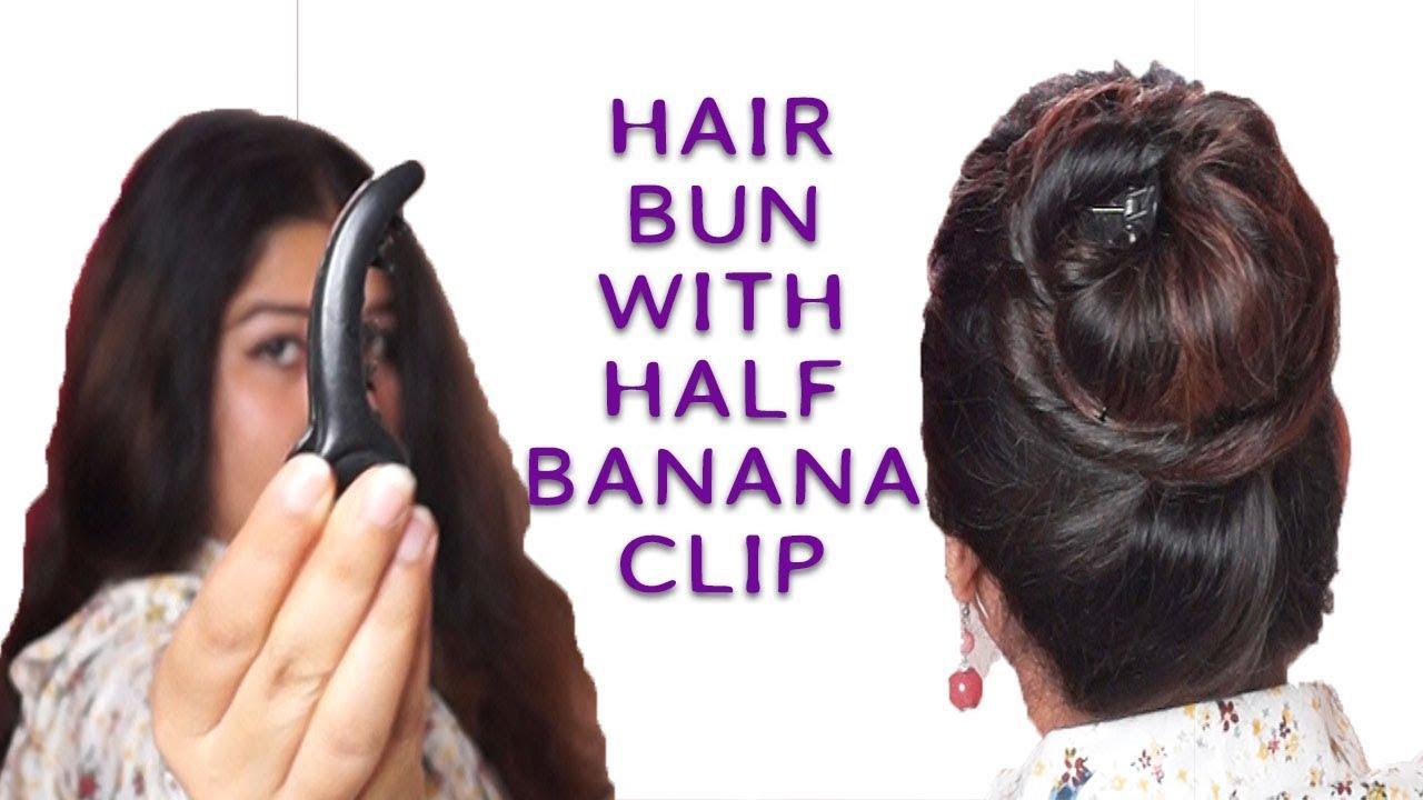 black and white stock Hair bun with half banana clip