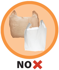 banner library stock Single use bag ban. Banned transparent plastic