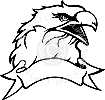 jpg library download Head with banner . Banners clipart eagle.