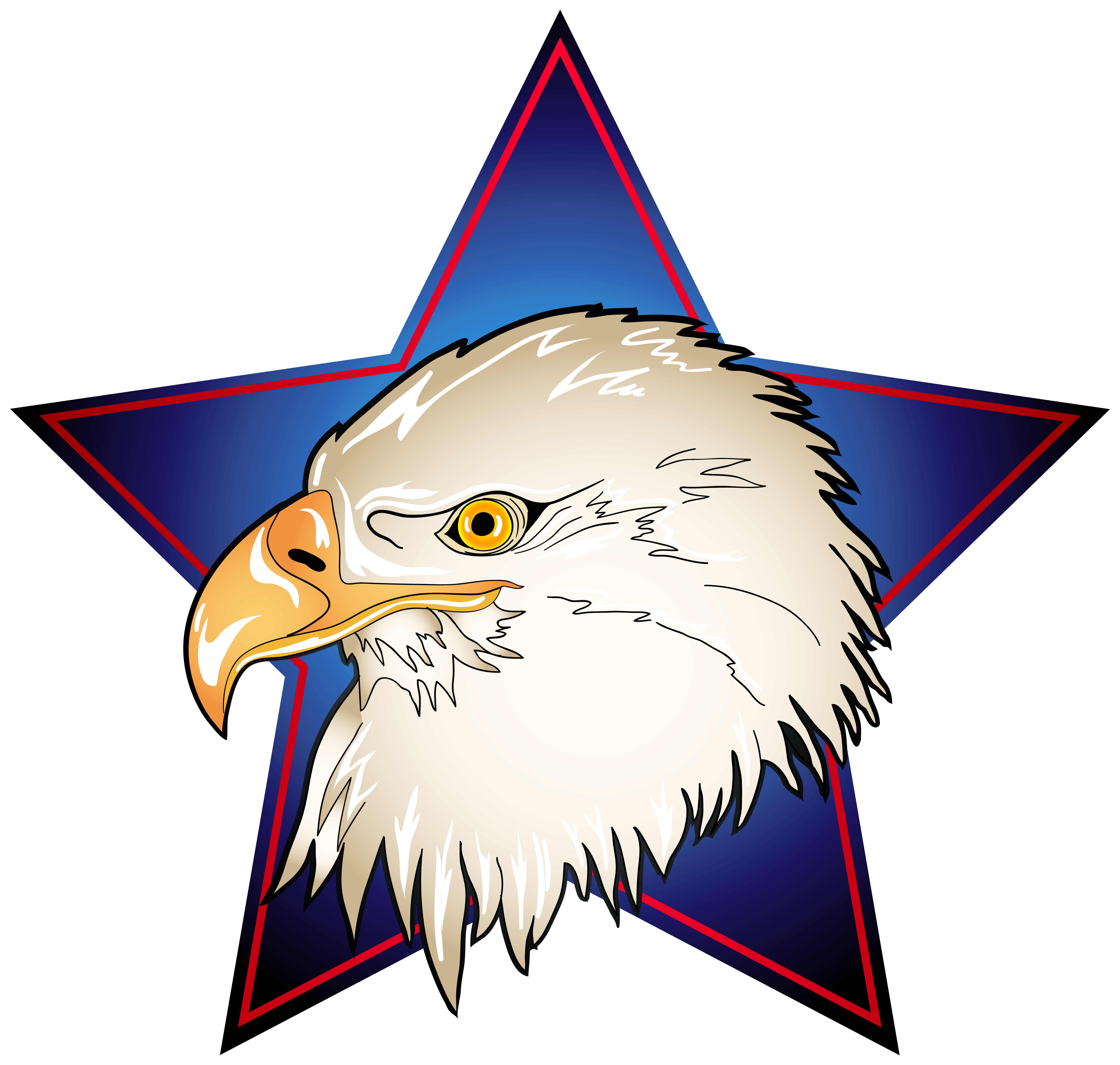 picture royalty free download In blue star transparent. Eagle head clipart