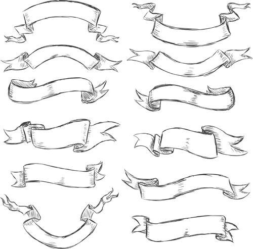png royalty free download Drawing ribbons. Hand drawn vintage ribbon