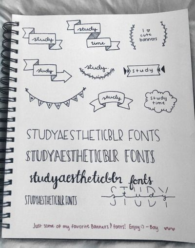 royalty free Banners drawing aesthetic. Studyblr tumblr bullet journal
