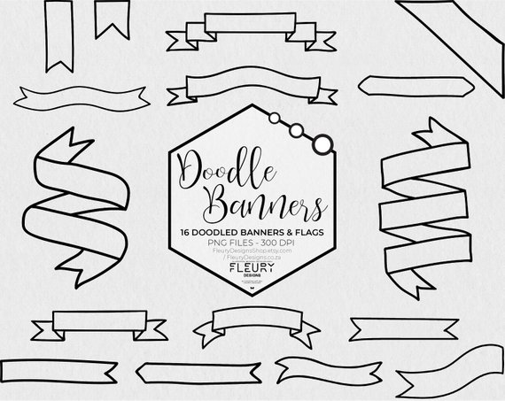 graphic stock Banners drawing clipart. Doodled and flags doodle