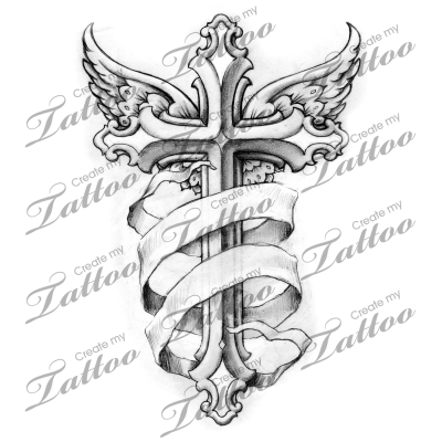 jpg freeuse Banners drawing cross. Winged with banner tattoo