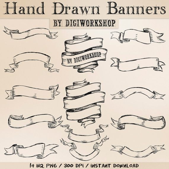 banner Banners drawing hand drawn. Clipart set with