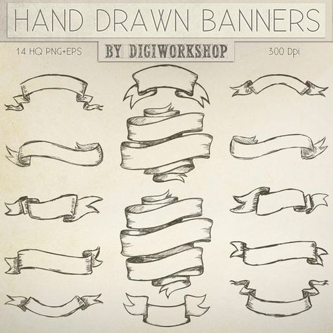 banner Clipart set with . Banners drawing hand drawn