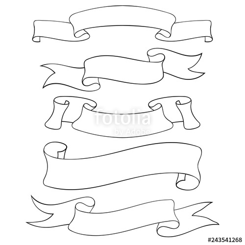banner freeuse stock Blank ribbon doodles stock. Banners drawing outline