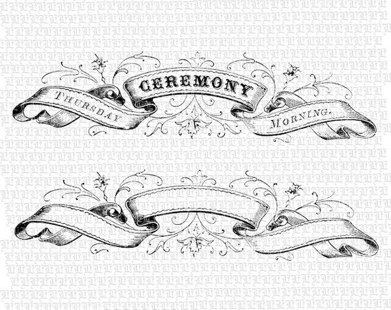 vector royalty free library Banners drawing victorian. Digital ribbon heading ceremony