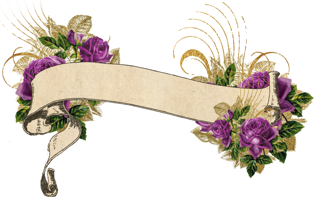clipart library download Banners transparent floral. Purple and gold vintage