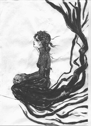 vector Banshee drawing celtic. The cry of selma