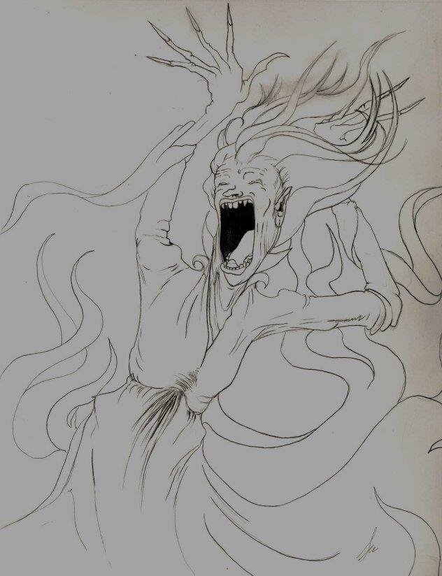 black and white library Screaming sketch by firesprite. Banshee drawing fire