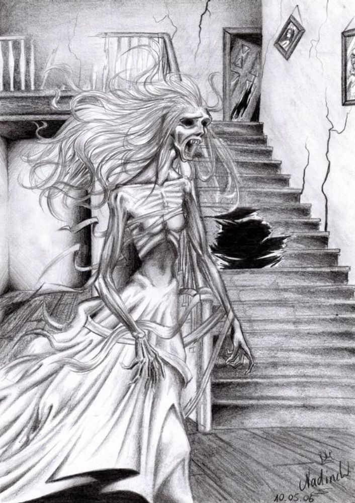 banner black and white Banshee drawing mythical. The is comming by
