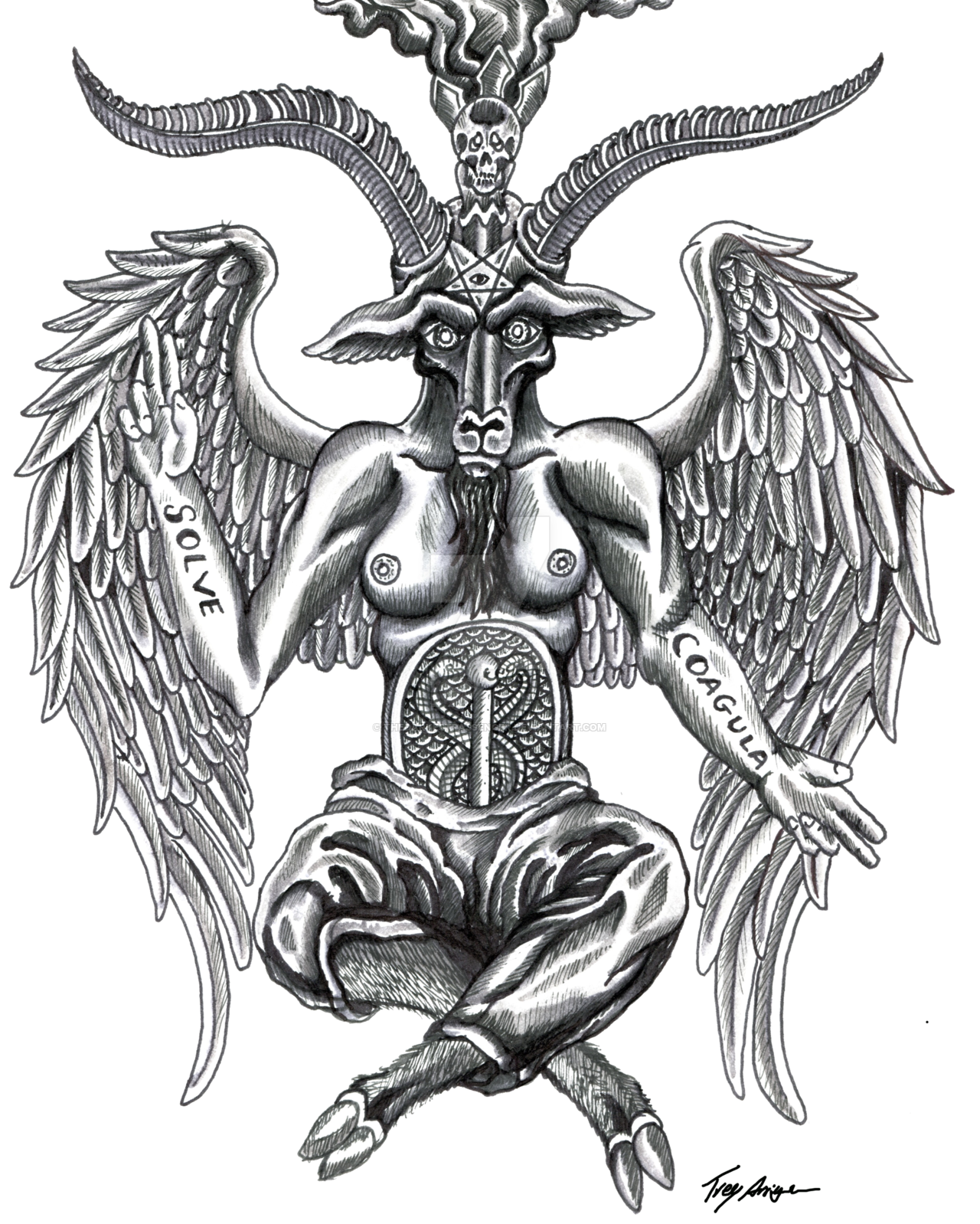 image stock Cut out by thedarkestpassenger. Baphomet drawing
