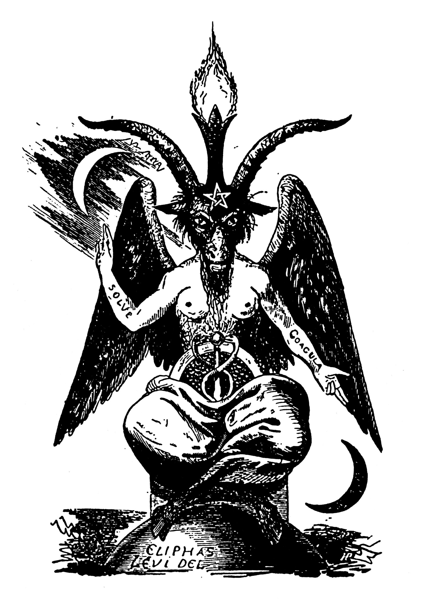 image freeuse Baphomet drawing artwork. Sculpting satan a chat